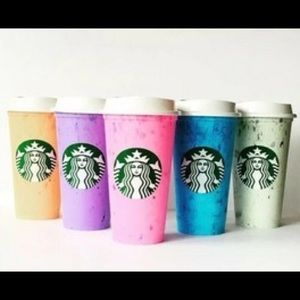 Starbucks set 6 reusable marble hot coffee cups